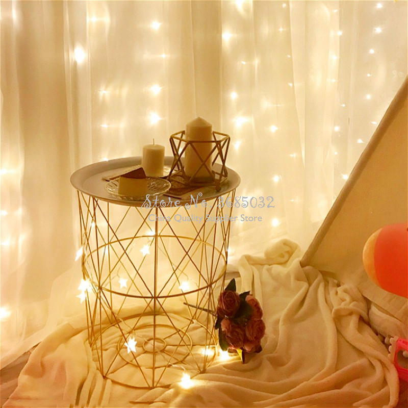Hot Nordic Golden Iron Metal Coffee Table Sofa Side Table Dirty Storage Basket  Fruit Snack Service Plate Tray Bed Living Room