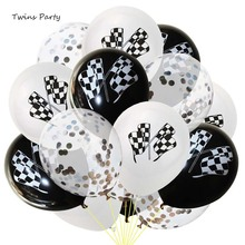 Twins Party 15Pcs Black White Racing Flag Balloons Car Race Decoration Gold Confetti Kids Birthday Supplies
