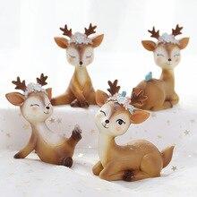 Original Cute Little Sika Deer Decoration Creative Christmas Gift Home Living Room Desktop Cake Crafts Gifts