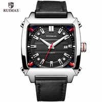 Montre mécanique hommes poignet automatique rétro affaires montres hommes étanche en cuir noir Montre horloge Montre Homme Montre-bracelet