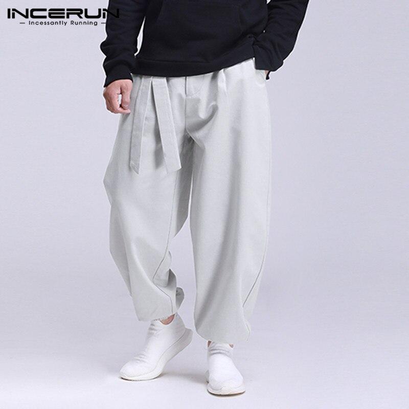 INCERUN Fashion Men Casual Pants Solid Color Lace Up Joggers Loose Sweatpants Streetwear Pockets Mens Harem Pants Trousers 2020