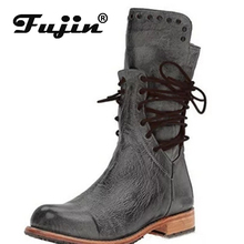 fujin 2019 New Winter Boots Women Retro Shoes Leather Vintage Rivets Lace-Up mid-calf zapato Quality Booties