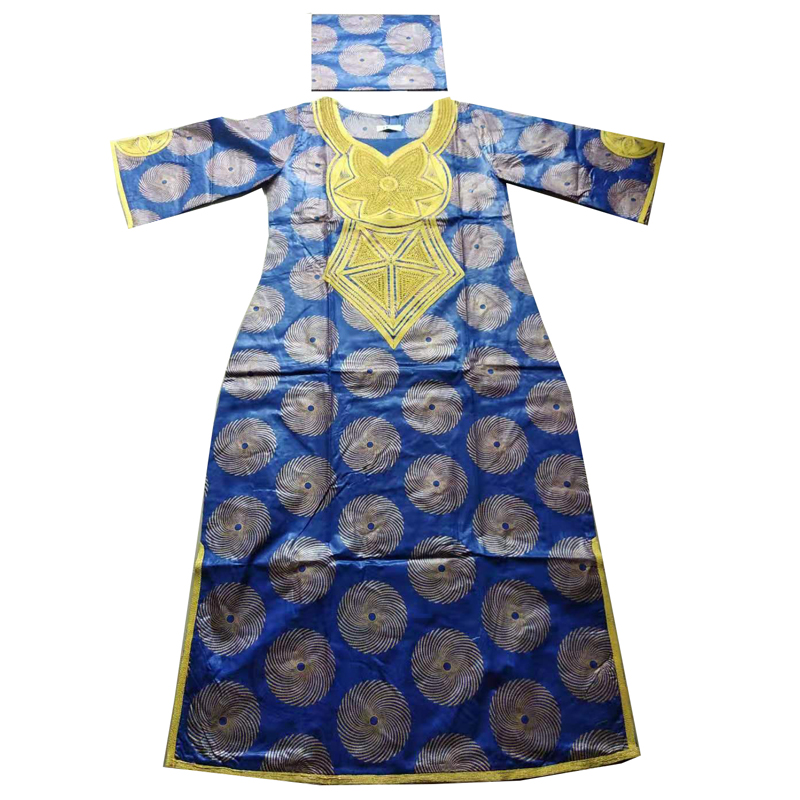 MD 2019 New Africa Dresses For Women Bazin Dashiki African Women Dresses Embroidery Women African Clothing Dress And Head Wraps