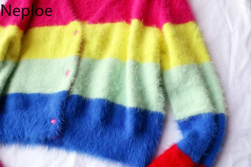 Neoploe 레인보우 스트라이프 카디건 여성 브이 넥 싱글 브레스트 긴 소매 짧은 니트 스웨터 스위트 소녀 가을 귀여운 탑스 80289