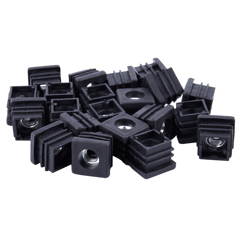 Square Tubing Pipe End Caps Insert Plugs M8 Thread 20x20mm 20Pcs Black