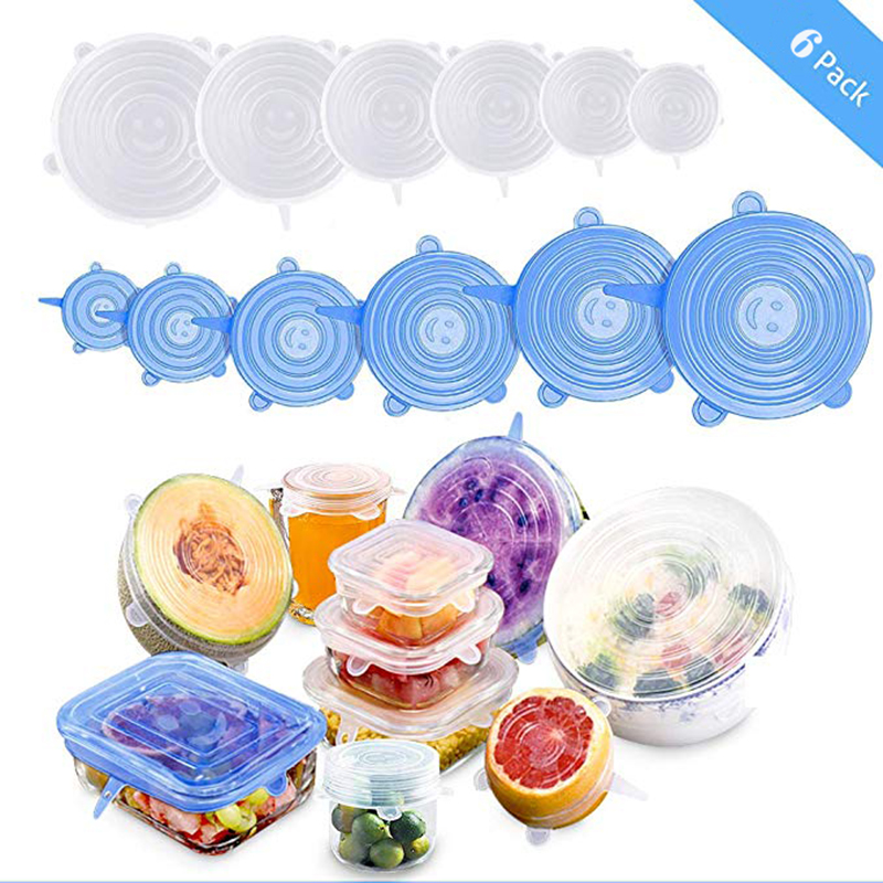 6pcs/set Silicone Sealing Cover Reusable Food Wrap Film Heat Resistance Elasticity Suitable For Containers Of Various Sizes