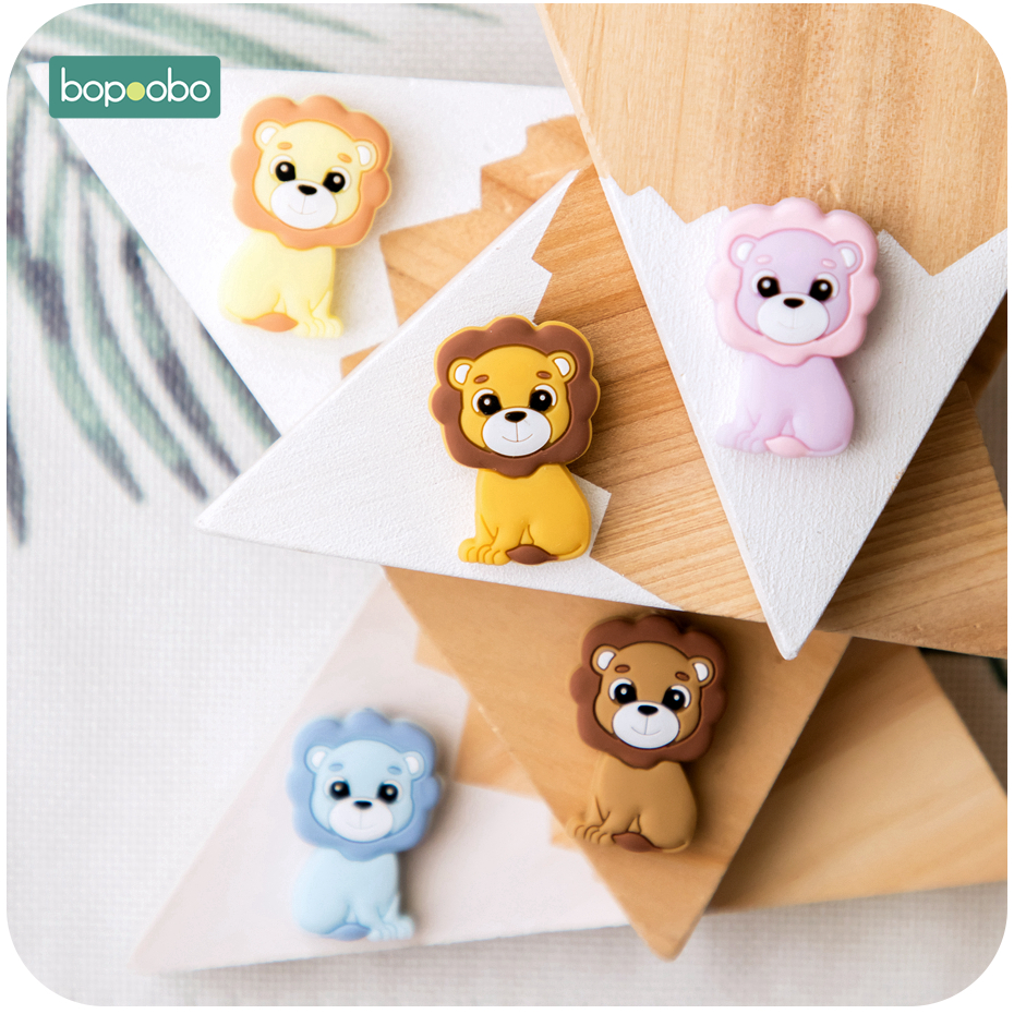 Bopoobo 5pcs Baby Teethers Food Grade Silicone Mini Lion Beads Infant Chewable Teething For DIY Necklace Baby Teether Diy Beads