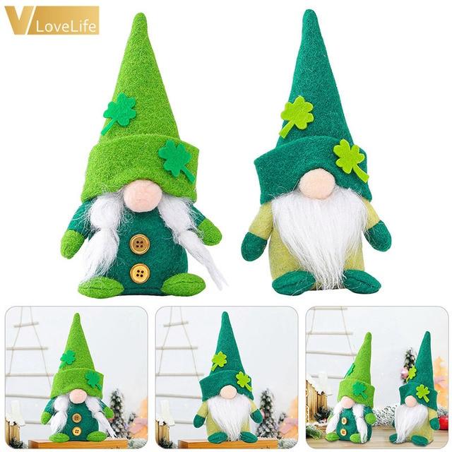 Gnome Plush Doll Faceless St. Patrick's Day Green Clover Gnomes Doll Irish Day Party Saint Patricks Day Wedding Table Decor 1
