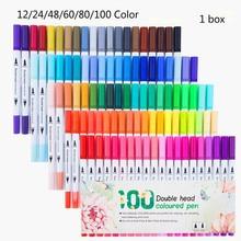 1 / Box 12/24/48/60/80/100 Color Double-Headed Hook Pen Color Marker Soft-Headed Watercolor Pen Art Children 's Painting Set
