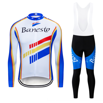Banesto 2020 Pro Cycling Jersey Set Long Sleeve Breathable MTB Bike Wear Clothes Bicycle Cycling Clothes Ropa Maillot Ciclismo xintown men long sleeve cycling jersey set quick dry mtb bike clothing breathable bicycle jerseys clothes maillot ropa ciclismo