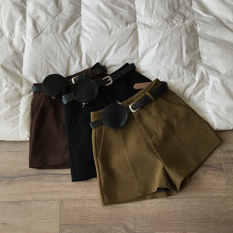 Mooirue 2019 Spring Autumn Solid Casual Korean Shorts Bottom Feminino High Wool Drawstring Wide Leg Trouser Bottom Hotpants