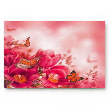 Flowers Butterfly Red Acacia Beautiful Floral Plant Bathroom Decor Rug Mat with Non Slip Rubber(China)