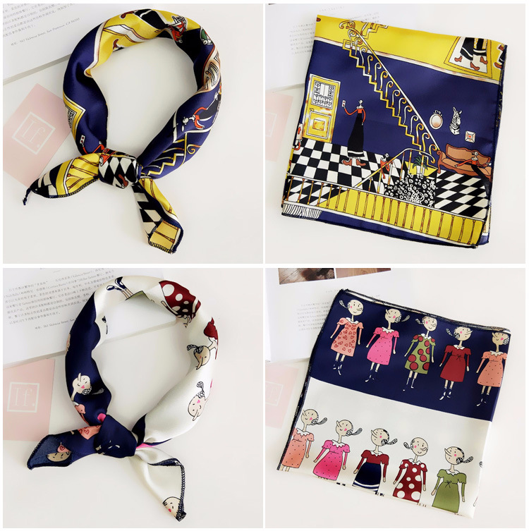 H5f204f72bd634303a6eade4385502968Z - Square Scarf Hair Tie Band For Business Party Women Elegant Small Vintage Skinny Retro Head Neck Silk Satin Scarf