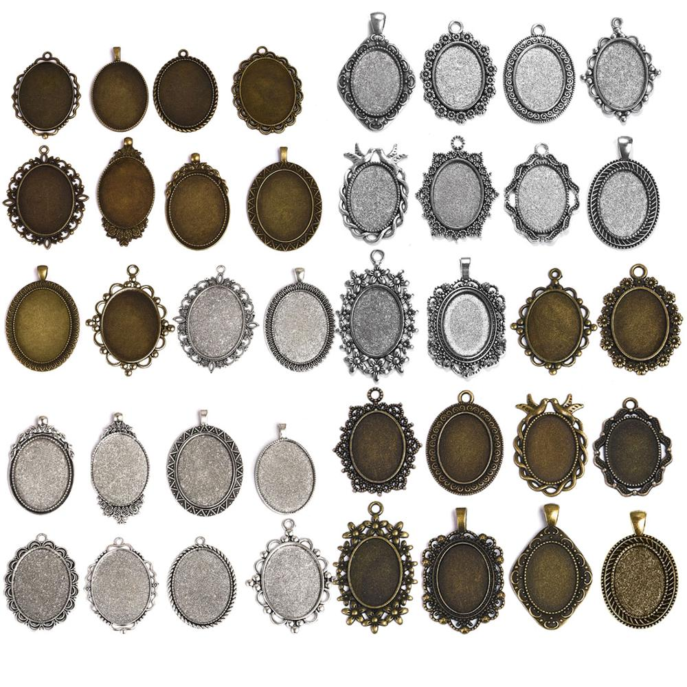20Pcs fit 25*25MM Square Glass Cabochon Bezel Pendant Blank Base Trays