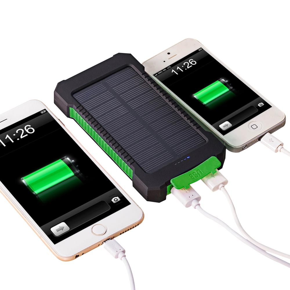 <font><b>Solar</b></font> <font><b>Power</b></font> <font><b>Bank</b></font> <font><b>20000mah</b></font> Waterproof Powerbank for iPhone 11 pro XS Max 8 Plus Xiaomi mi <font><b>Power</b></font> Dual USB <font><b>External</b></font> <font><b>Battery</b></font> Charger image