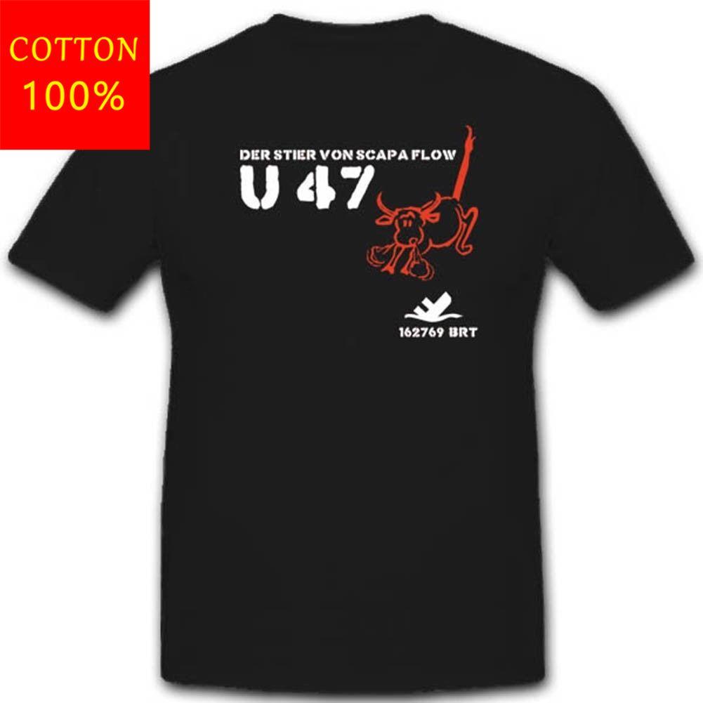 Sıcak satış 2019 moda Uboot 47 U47 askeri deniz denizaltı zırhlı denizaltı boyun T Shirt