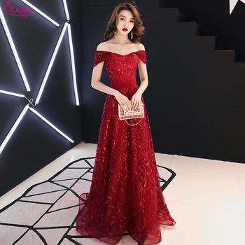 Elegant Evening Dresses Long Queen Abby A-Line Off The Shoulder  Sleevesless Lace-Up Back Sexy Sequined Wedding Party Gowns