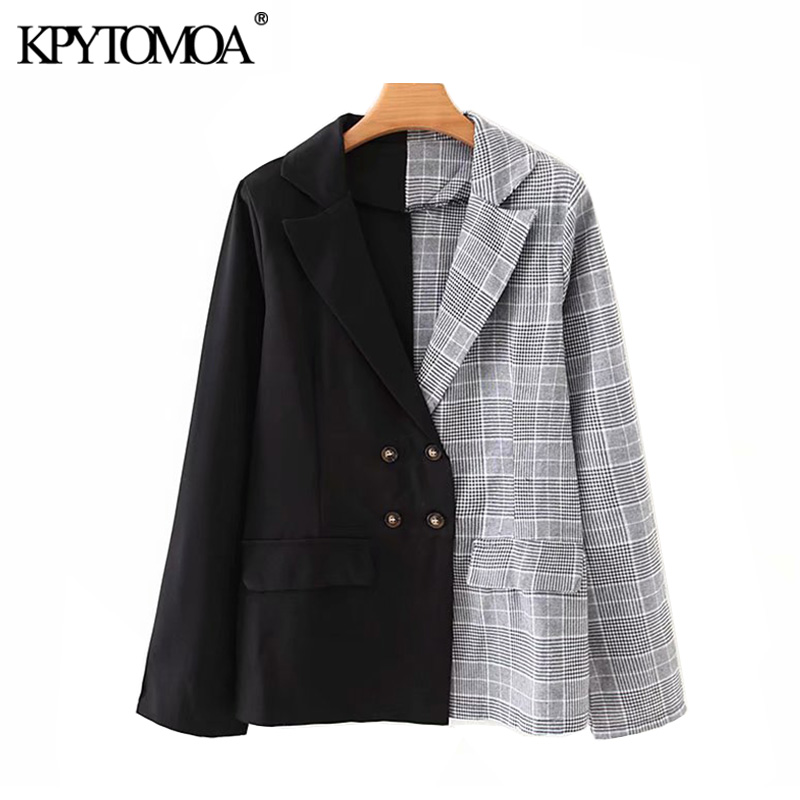 Vintage Stylish Double Breasted Patchwork Blazer Coat Women 2020 Fashion Notched Collar Long Sleeve Female Outerwear Chic Tops