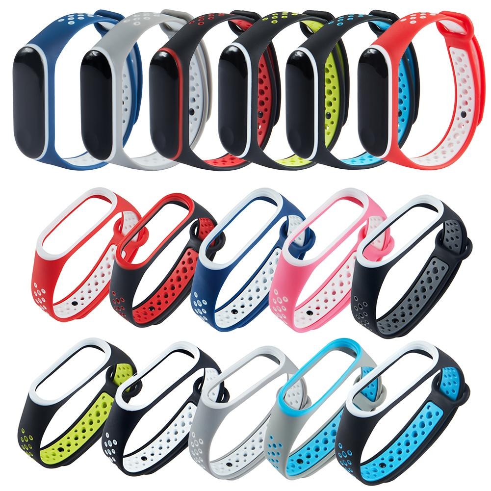 For Mi Band 4 Sports Bracelet Replacement Wrist Strap Silicone Double Color Breathable Watchband For Xiaomi Mi Band 4 Miband 3