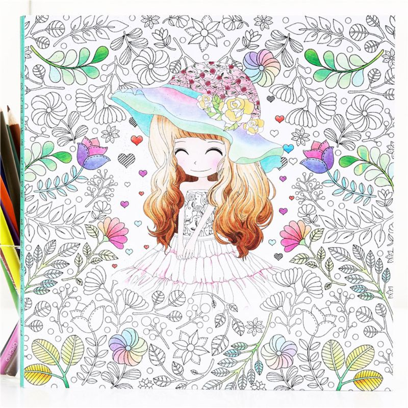 Children Kids Coloring Book Girls Ancient Style Drawing Graffiti Painting Books Holiday Gift Decompression Tool AXYF