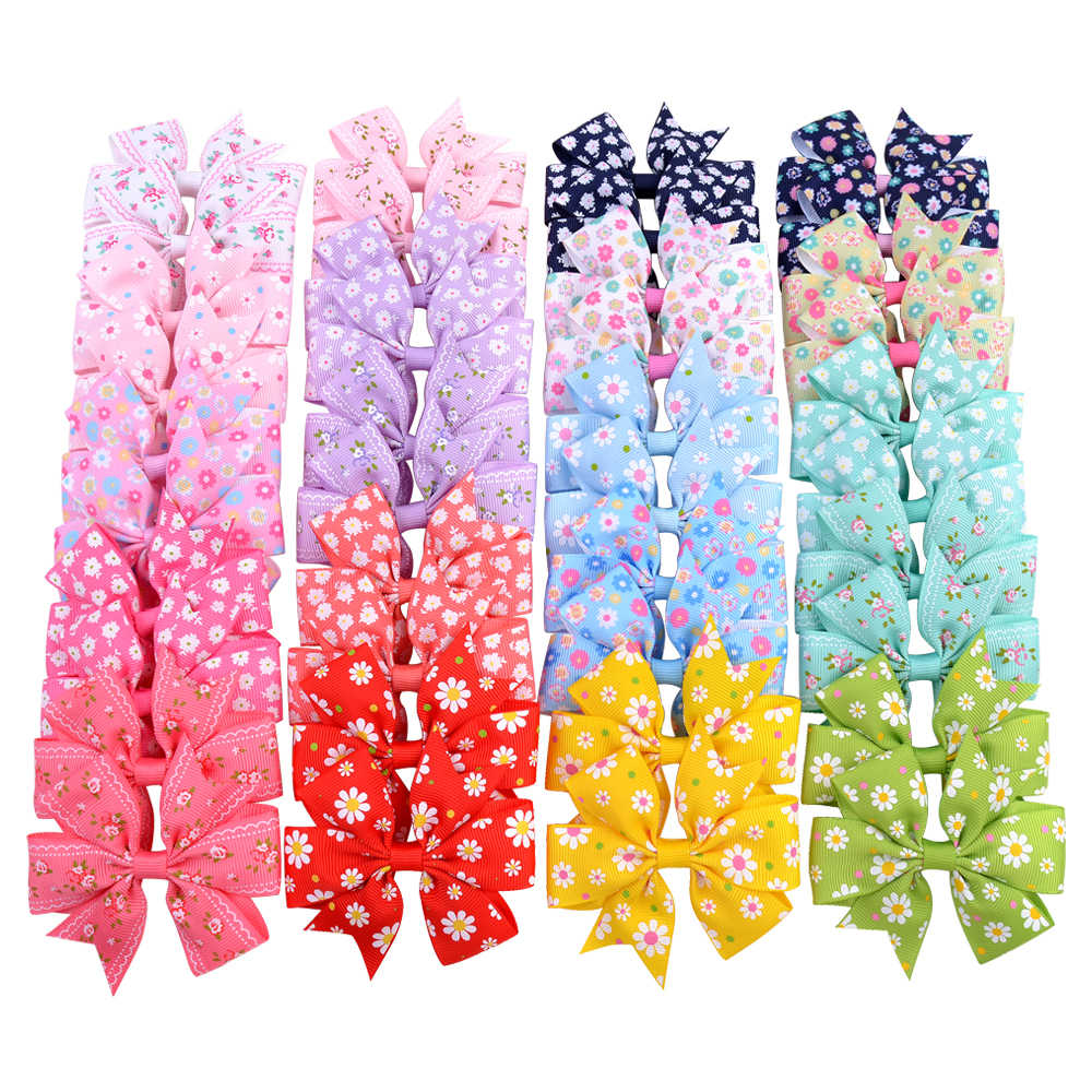 20Pcs/lot 3.2inch Print Flower Grosgrain Ribbon Hair Bows With For Kids Girls Handmade Bowknot Hair Accessories 039