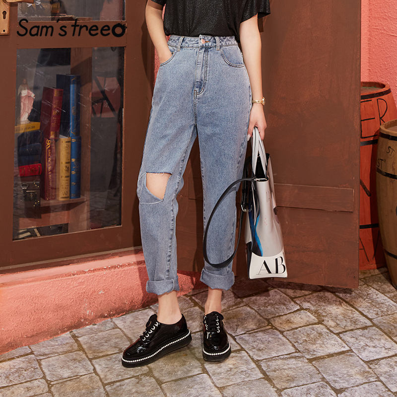 SAM'S TREE Blue Solid High Waist Straight Washed Casual Jeans Women 2020 Spring Black Pure Ripped Korean Ladies Daily Trousers