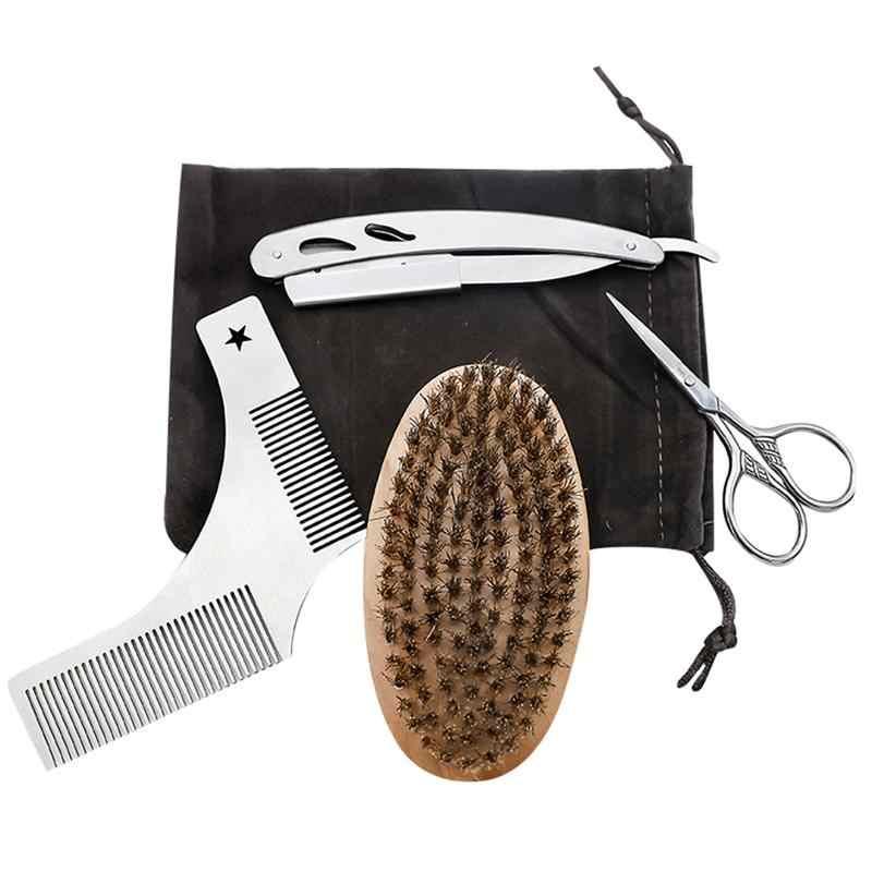 4 шт., набор для обрезки бороды, ножницы из нержавеющей стали, бритва, усы, стальная расческа и щетка, набор для ухода (с тканевым мешком)