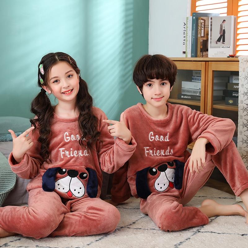 Warm Flannel Children Pajamas Set Kids Baby Girl Boys Cartoon Casual Cloth Costume Long Sleeve Children Sleepwear Pajamas Sets