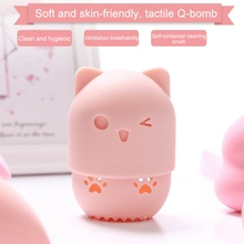Beautypapa Cat Shape Silicone Makeup Sponge Holder Potable Cosmetic Puff Capsule Carrying Case Beauty Sponge Stand Make Up Tools