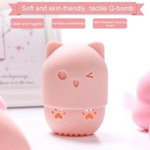 Image 1 - Beautypapa รูปแมวซิลิโคนแต่งหน้าฟองน้ำผู้ถือแบบพกพาเครื่องสำอางค์พัฟแคปซูลกระเป๋าถือความงามฟองน้ำ Stand Make Up เครื่องมือ