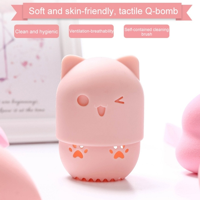 Beautypapa รูปแมวซิลิโคนแต่งหน้าฟองน้ำผู้ถือแบบพกพาเครื่องสำอางค์พัฟแคปซูลกระเป๋าถือความงามฟองน้ำ Stand Make Up เครื่องมือ