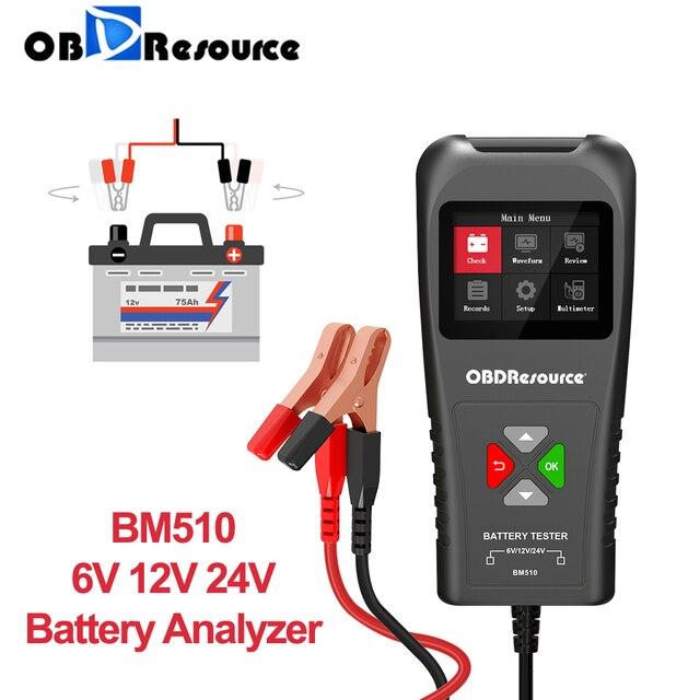 בודק סוללות לרכב BM510 עם מסך 6V 12V 24V מַשָׂאִית אופנוע קליפ גישה הפיך כלי בדיקת טעינה גלאי מתח לרכב