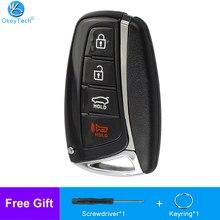 Чехол для автомобильного ключа OkeyTech с 4 кнопками и умным дистанционным управлением, брелок для Hyundai Genesis 2013 2014 2015 Santa Fe Equus Aze