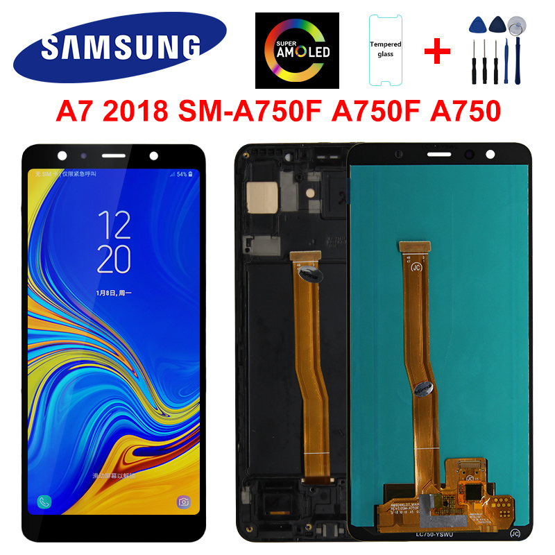 Super AMOLED For <font><b>Samsung</b></font> <font><b>Galaxy</b></font> <font><b>A7</b></font> <font><b>2018</b></font> <font><b>Display</b></font> SM-A750F A750F A750 LCD <font><b>Display</b></font> Touch Screen Digitizer Replacement Part A750 LCD image