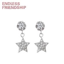 Endless Friendship Silver Sparkling Crystal Zircon Starlight Piercing Stud Earrings For Women Brincos de gota Feminino