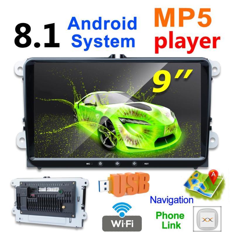 K9 Quad Core Android 8.1 Car Stereo MP5 Player 9inch GPS Navigation Bluetooth WiFi USB FM Radio Head Unit for VW Golf EOS Passat