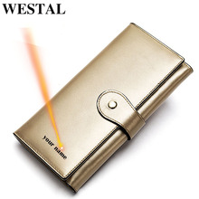 WESTAL ladies wallets genuine leather womens leather wallet for cards womens wallets and purses clutch female coin purse 8303