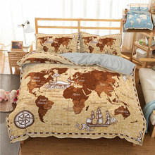 Fashion World Map Home Textiles 2/3pcs Bedding Set Comforters Sets Bed Set Sheet, Pillowcase & Duvet Cover Sets Polyester