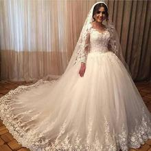 Sexy Women Simple Vintage Vestidos De Noiva 2019 Bridal Dress Wedding Long Sleeves