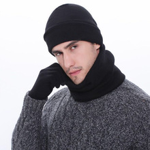 Gloves Scarf-Set Hats Warm Winter And Men for Auburn-Grey Black 3pcs Knitted