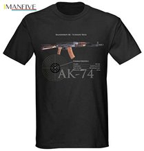 2019 New Brand Cheap Sale 100 % Cotton Mens Black Military Russian T-Shirt AK-47 AK-74 Kalashnikov Assault NWT Graphic