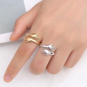 Todorova New Romantic Hand with Love Hug Rings Adjustable Love Forever Open Finger Ring Lover Jewelry Gift For Women Men