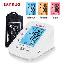 Sannuo 2021 yükseltilmiş kan basıncı monitörü otomatik BP makinesi kalp hızı darbe monitör uzun manşet dijital 3 renkli LCD ekran