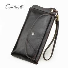 CONTACT'S Genuine Leather Long Wallet Clutch Men Wristlet Design Purse Coin Pocket Passport Bag For Men With Phone Pocket  2021
