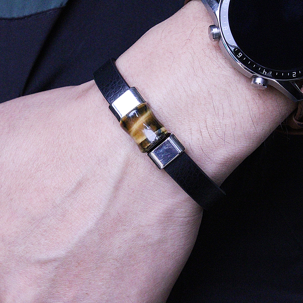 High quality natural tiger eye bamboo bead bracelet men and women handmade leather jewelry energy bracelet gift