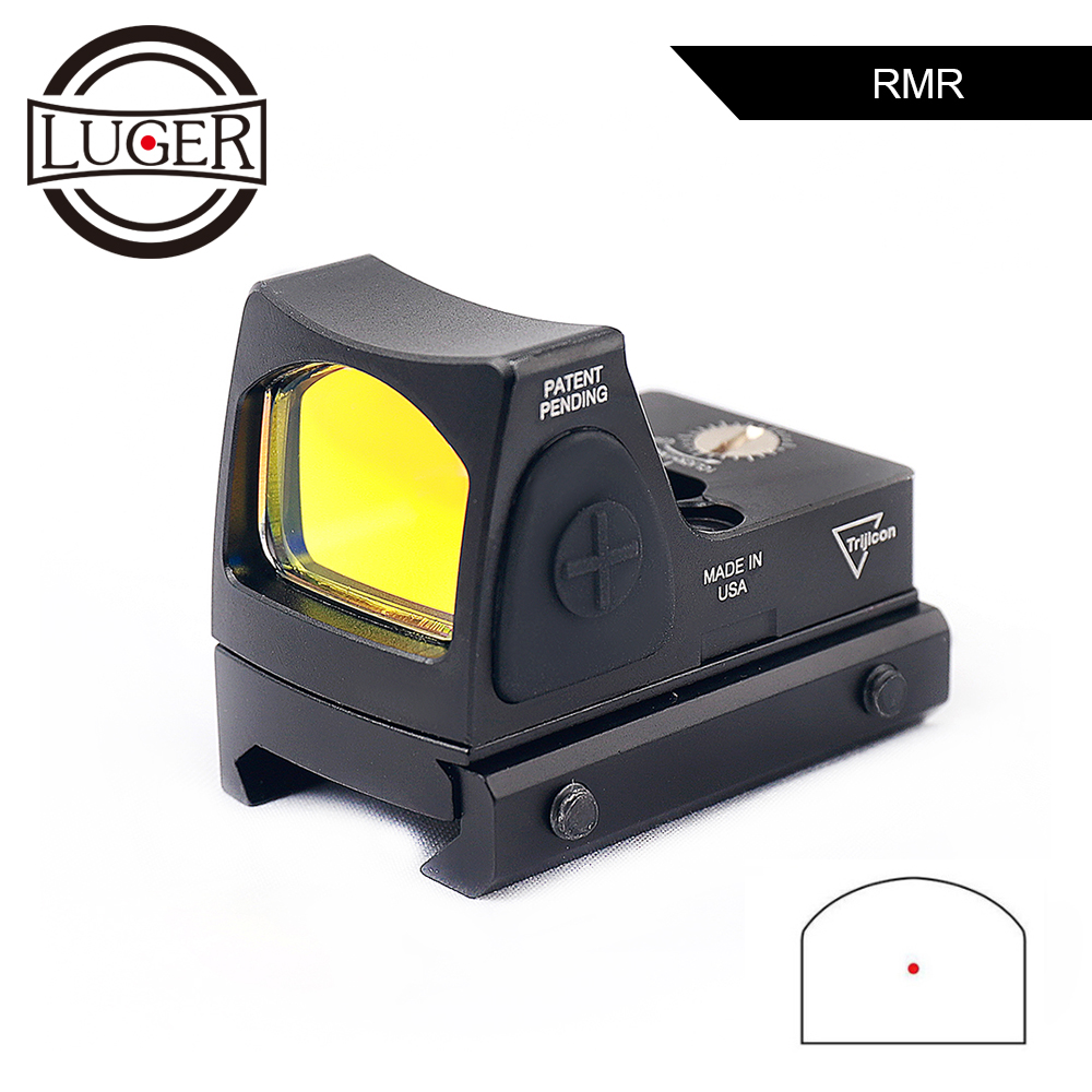 LUGER RMR Red Dot Sight Scope Collimator Glock Optical Micro Reflex Sight Riflescope Fit 20mm Weaver Rail For Airsoft Hunting