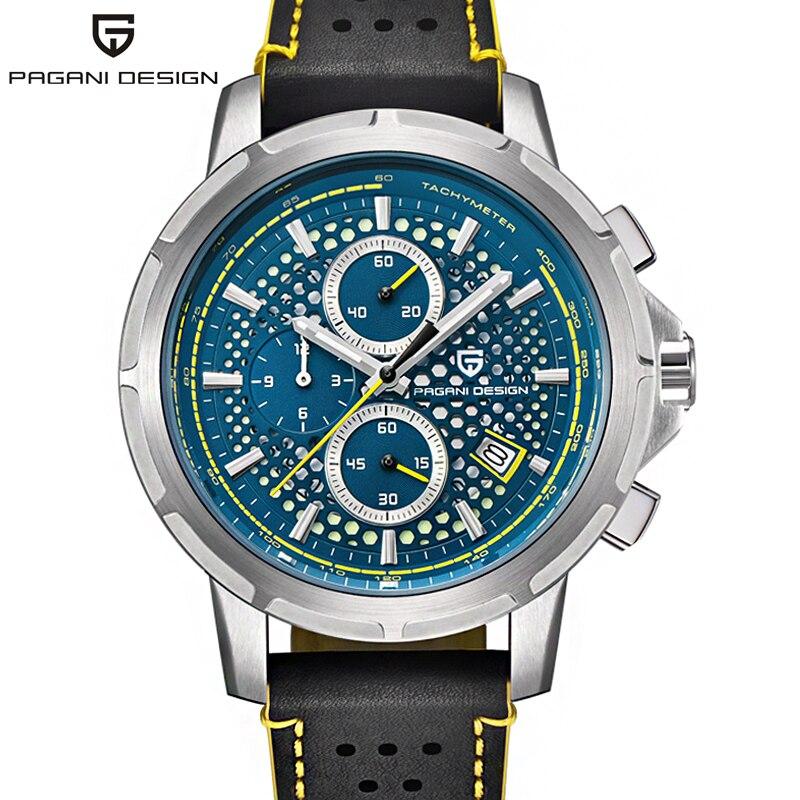 PAGANI Дизайн Seiko VK67 Movt спортивные военные кварцевые часы кожаные светящиеся мужские часы модные Хронограф Авто наручные часы с отметкой даты