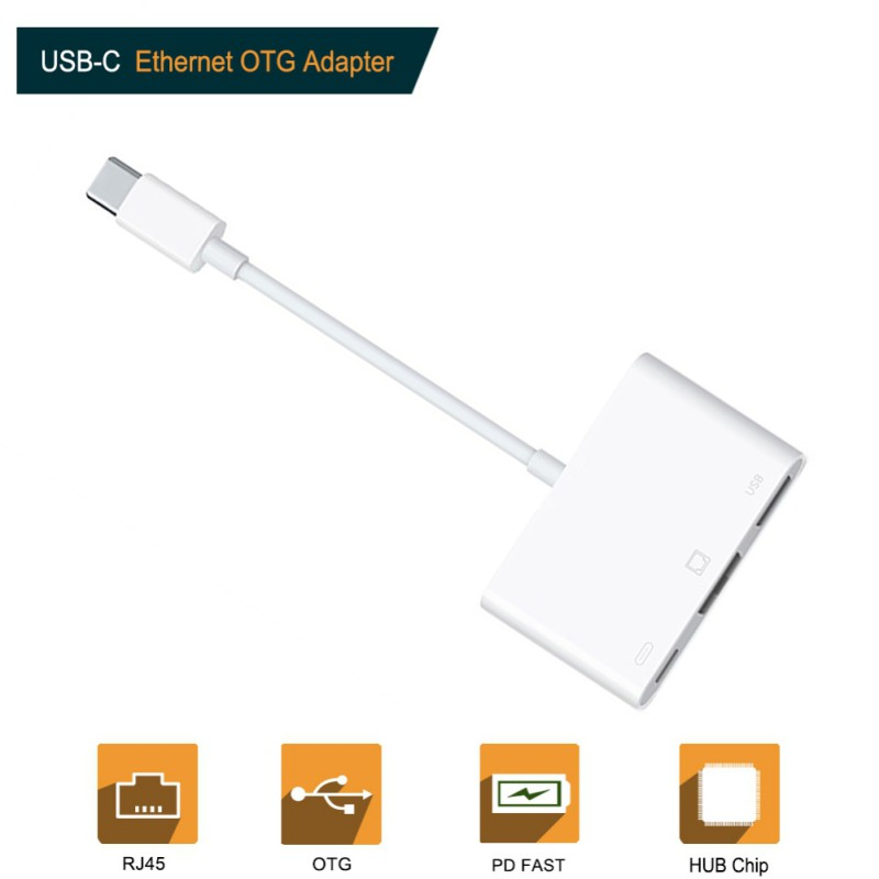 Type-C To RJ45 Ethernet Lan Network Adapter 10/100Mbps Adapter For IPad Pro Macbook Laptop Phone