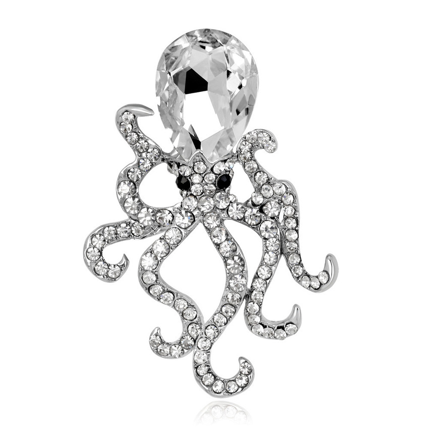 Japanese Korean Women Brooch Alloy Rhinestone Ocean Octopus Brooches Pins for Girl Cute Sea Fish Fashion Hat Corsage Accessories in Brooches from Jewelry Accessories