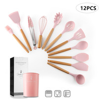 12PCS Premium Silicone Kitchen Cooking Utensils Set with Wood Handle Nonstick Cookware Turner Soup Spoon Egg Beater Spatula Pink